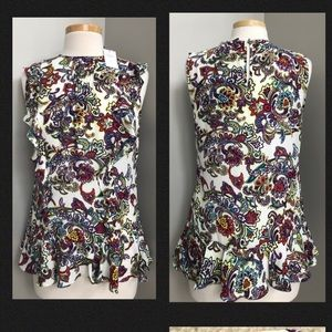 NWT's Banana Republic Paisley Ruffle Top